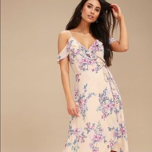 Lulu's Bouquet Blooms Cream Floral Print Dress